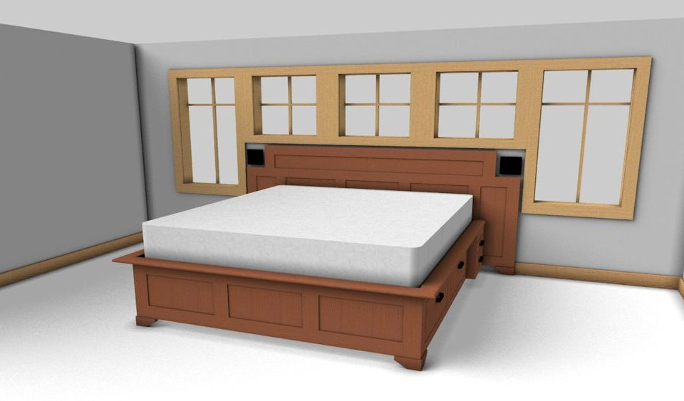 Custom Cherry Platform Bed