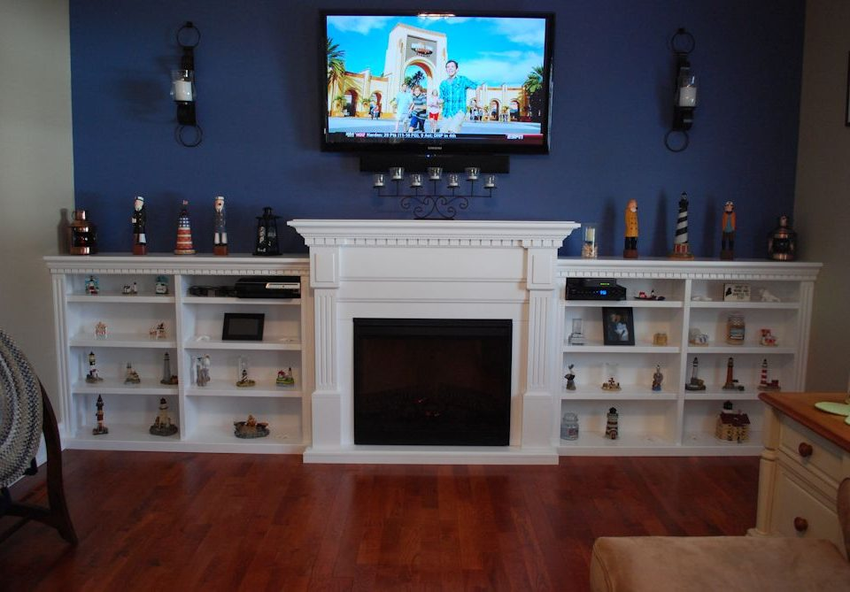 Custom Fireplace Side Shelves