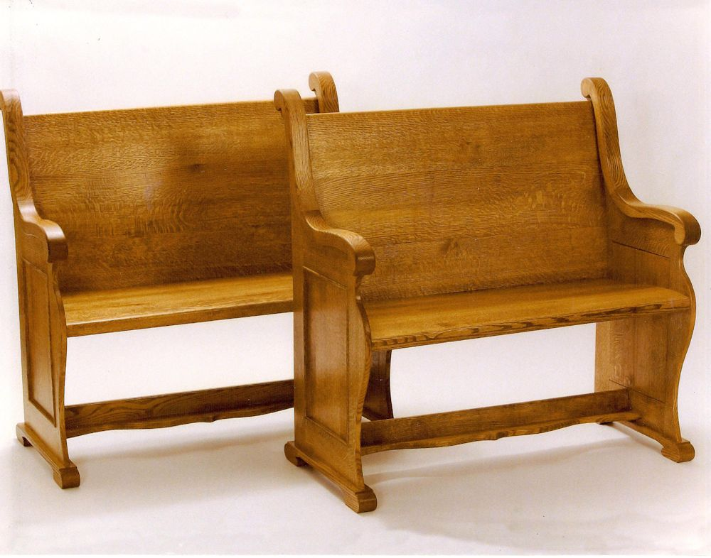 Custom Oak Pew Bench Saratoga County Charlton Ny