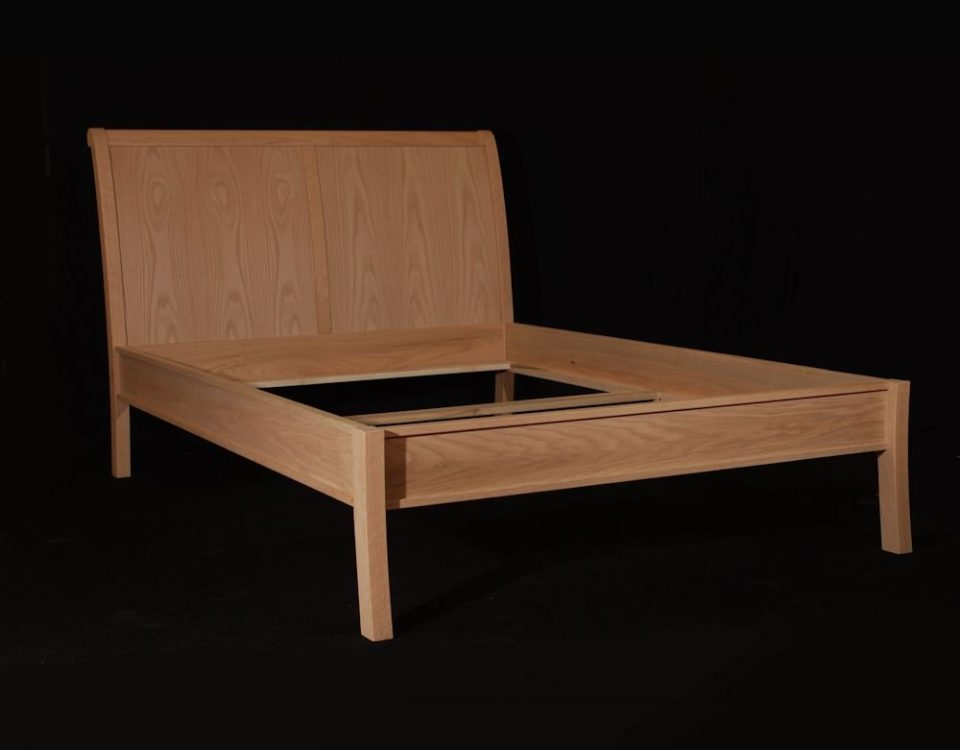 Custom Oak Sleigh Bed