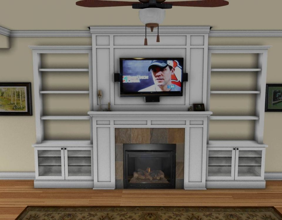 Custom Side Fireplace Shelves