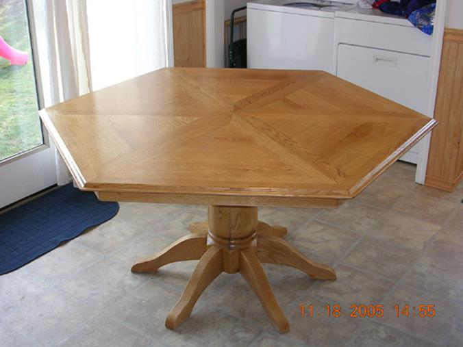 Custom 6 Sided Oak Table