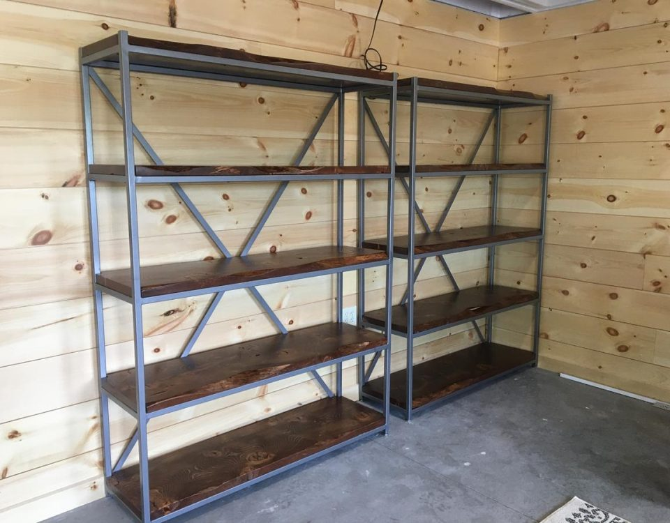 Custom Live Edge Shelving Units