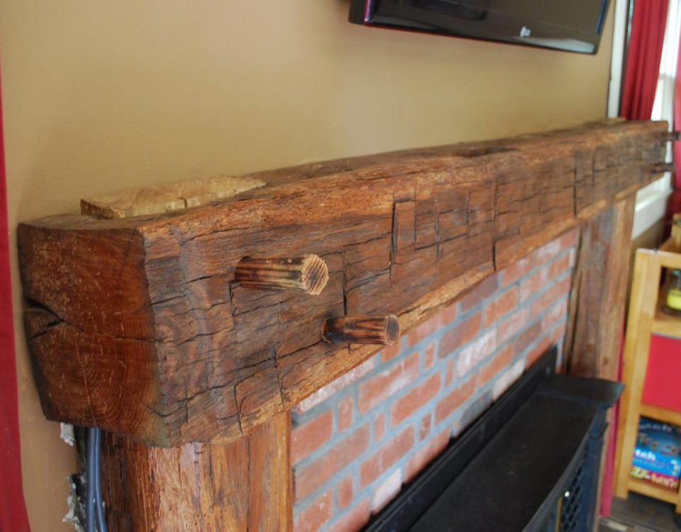 Custom Reclaimed Barn Beam Mantel 4