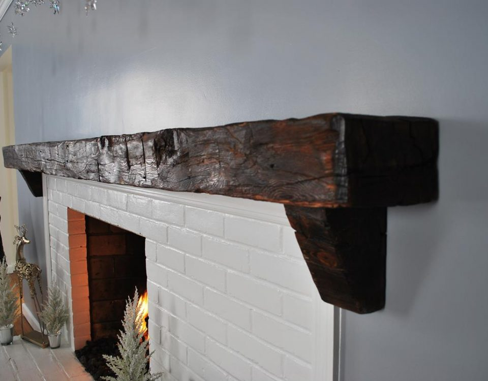 Custom Reclaimed Barn Beam Mantel 3