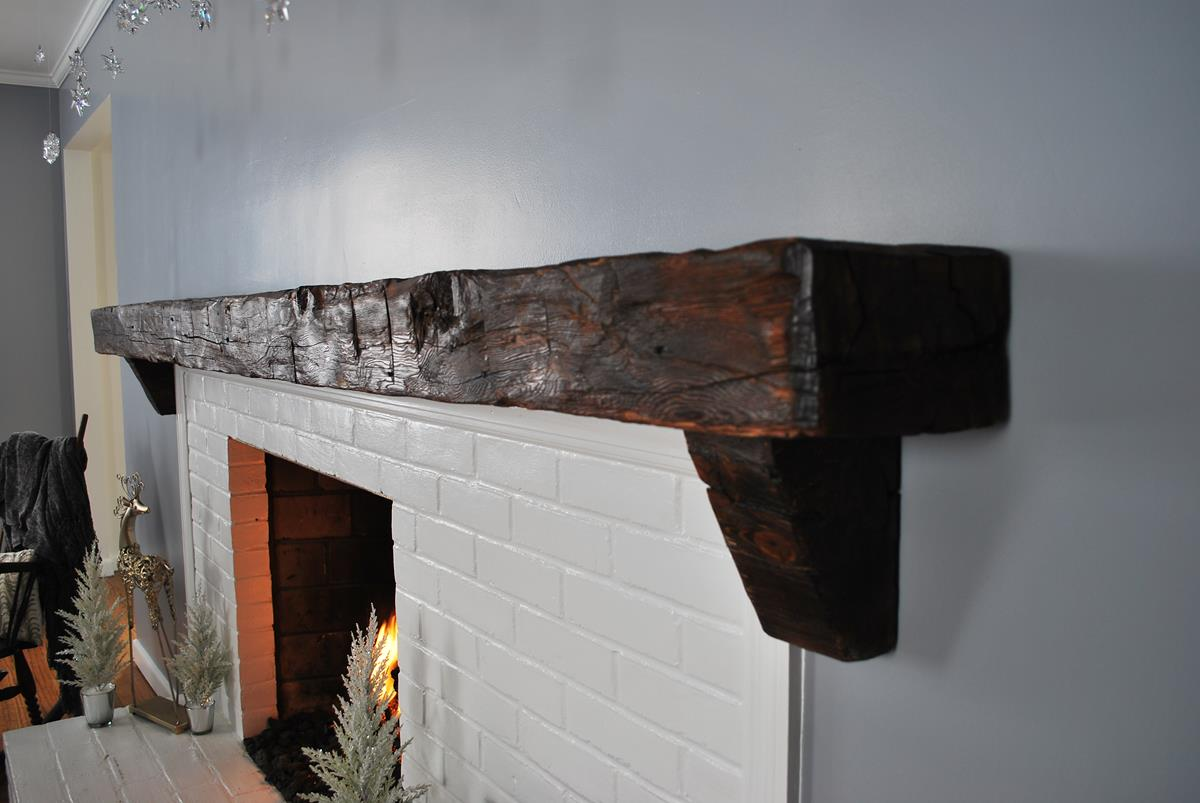 Custom Reclaimed Barn Beam Mantel 3 Saratoga Ny