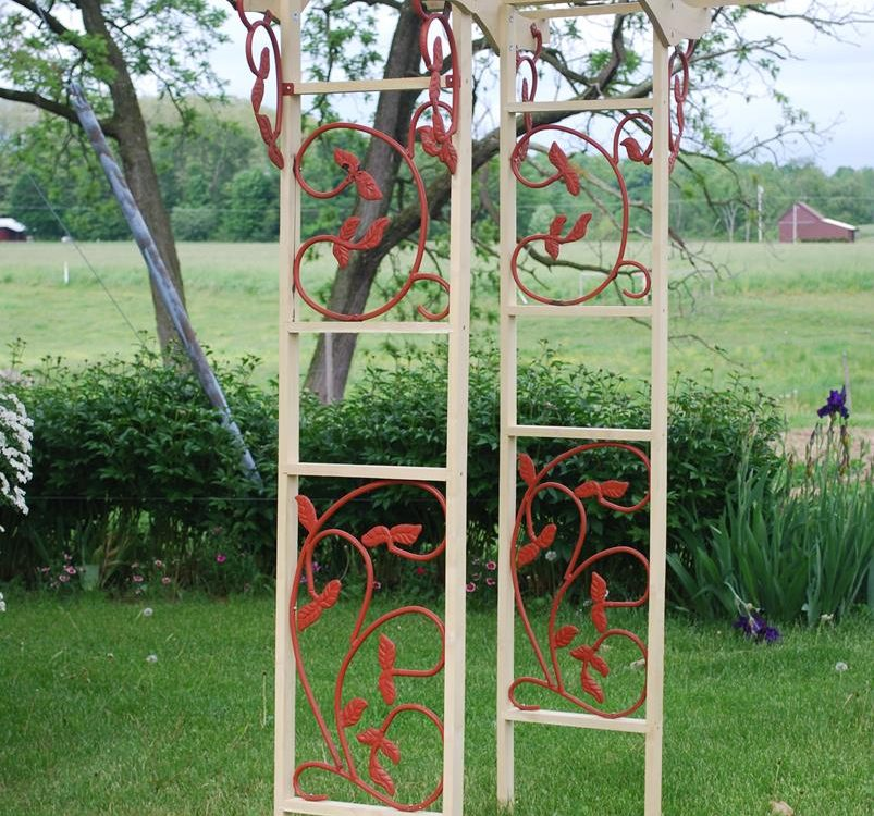 Black Locust Garden Arch With Decorative Side Panels