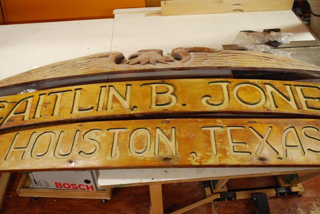 Custom Restoration Of Mahogany Boat Name Sign Saratoga Ny